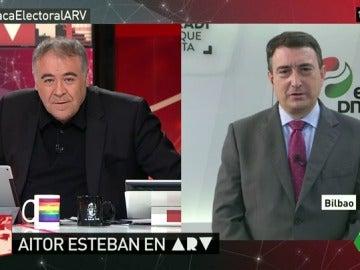 """Aitor Esteban: """"No estamos 'molto fanáticos' para apoyar un gobierno de Rajoy"""""""