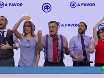 El Intermedio despide la temporada desde el balcón del éxito, el del PP, al ritmo de '¡Yo soy evasor!'