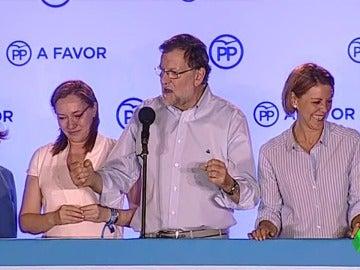 Mariano Rajoy se queda en blanco en el balcón de Génova