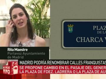 """Rita Maestre, sobre el cambio de nombre de calles franquistas: """"Espero que el PP forme parte de la decisión"""""""