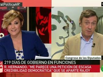 """Rafael Hernando: """"Pedir que Rajoy se vaya es de escasa credibilidad democrática porque lo han votado millones de personas"""""""