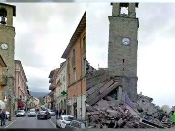 Así ha quedado la localidad de Amatrice tras el terremoto en Italia