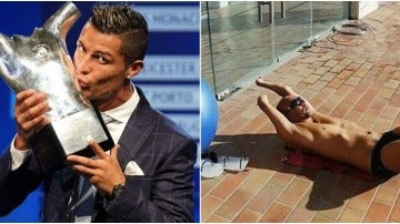 Xavi Torres se compara con el trofeo a Mejor Jugador de la UEFA