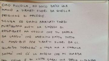 Carta de un bombero a una niña fallecida en el terremoto de Italia