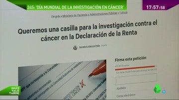 Más de 30.000 firmas apoyan incluir una casilla para la investigación contra el cáncer en la Declaración de la Renta