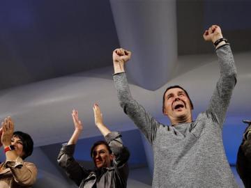 "Arnaldo Otegi celebra el resultado de EH Bildu: ""Los presos vascos, a casa"""