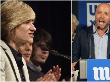 Pili Zabala, candidata de Podemos Euskadi al Parlamento Vasco, y Luis Villares, candidato de En Marea a la Xunta