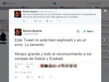 """Espinar matiza sus palabras tras afirmar que """"Podemos pierde votos cuando Pablo Iglesias no es candidato"""""""