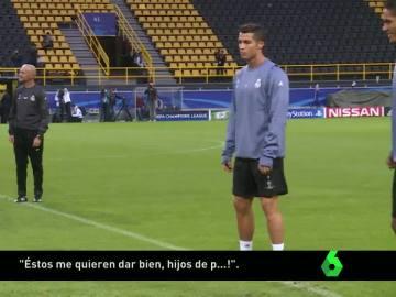 Cristiano Ronaldo, de mal humor en el entrenamiento del Westfalenstadion