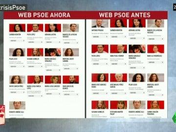 El PSOE actualiza su web para eliminar a los 17 críticos de Pedro Sánchez