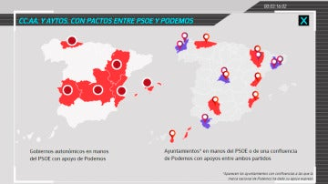 El mapa de España con los pactos Podemos-PSOE