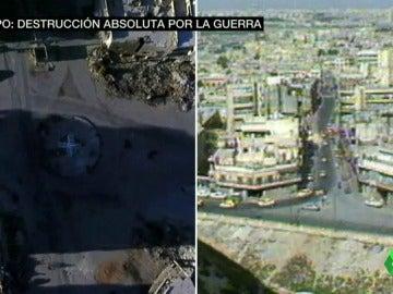 Monumentos, mercados y edificios destruidos, el antes y el después de Alepo tras cuatro años de guerra en Siria