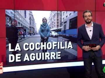 """La 'cochofilia' de Aguirre: """"Su atracción irrefrenable hacia el vehículo a motor en la Gran Vía"""""""