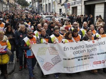 El comité de empresa de Telemadrid sale a la calle para protestar por el expediente de regulación de empleo de la radiotelevisión pública madrileña