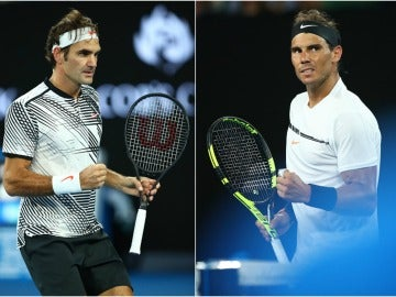 Roger Federer y Rafa Nadal, en el Open de Australia