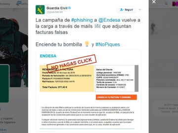 Tuit de la Guardia Civil alertando sobre la falsa factura de la luz