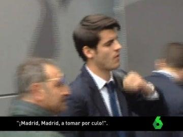 Álvaro Morata, a su llegada al hotel de Nápoles
