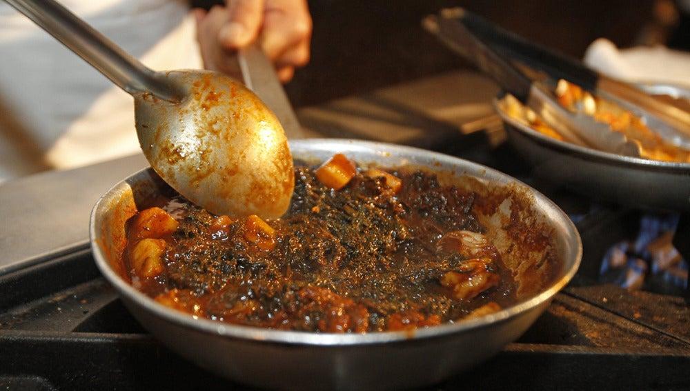 Preparación de un plato con alto contenido en grasas