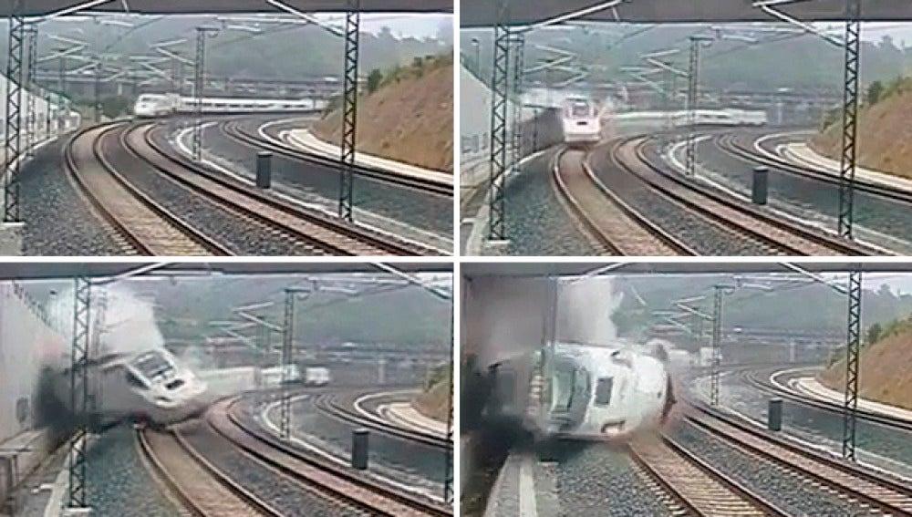 Secuencia del accidente de tren en Santiago