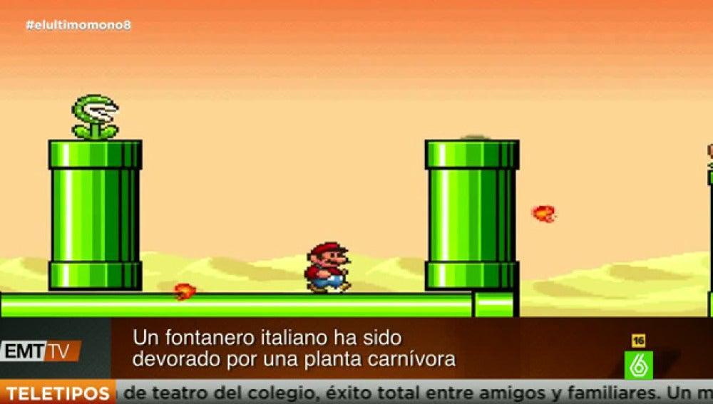 Mario, un fontanero italiano, es devorado por una planta carnívora