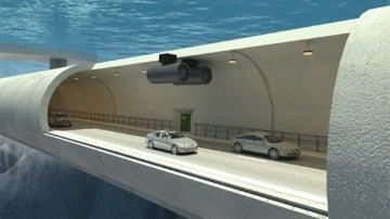 Túnel acuático y a la vez flotante