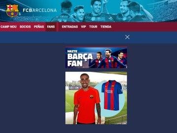 Alcácer, con la camiseta del Barcelona en la web del club
