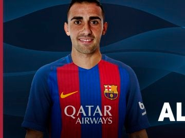Alcácer, con la camiseta del Barcelona