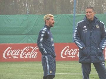 Messi, en el entrenamiento con la Albiceleste