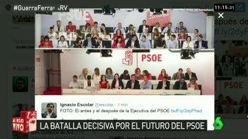 La Ejecutiva del PSOE, antes y después de las 17 dimisiones
