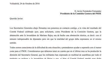 Ocho secretarios territoriales del PSOE publican una carta pidiendo al presidente de la gestora una abstención técnica