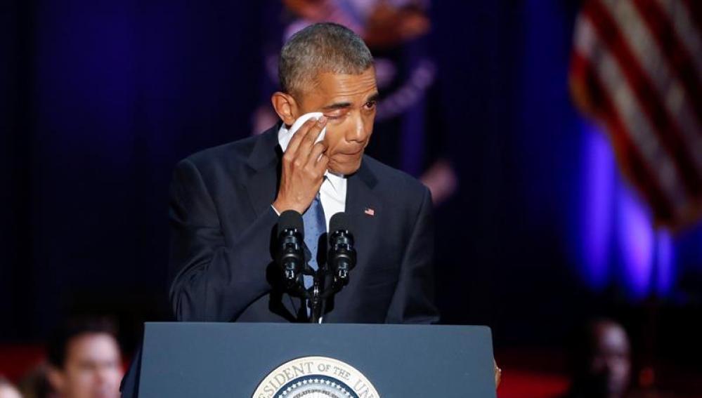 Barack Obama se emociona en su discurso de despedida