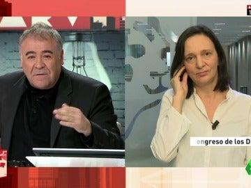 """Frame 7.557044 de: Bescansa, sobre el PSOE: """"No puede estar un día fijando con el PP el techo de gasto y otro hacerte la foto para decir que estás a favor de una renta mínima"""""""