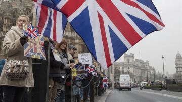 arias personas participan en la manifestación a favor del Brexit