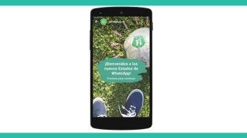 Mensaje de bienvenida a los estados de WhatsApp