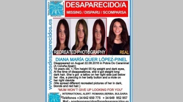 Cartel de Diana Quer con diferentes colores de pelo