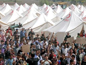 Un campamento de refugiados en Siria