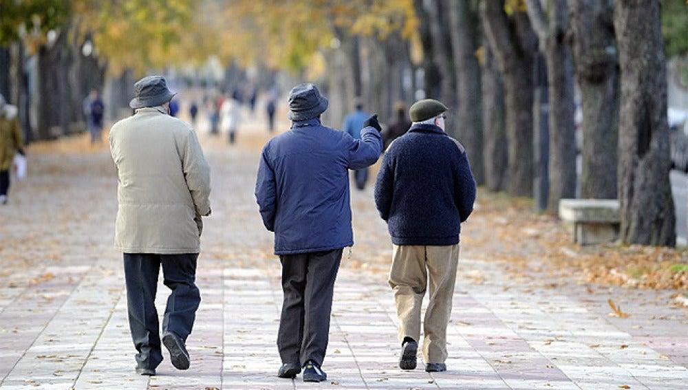 Tres hombres mayores paseando