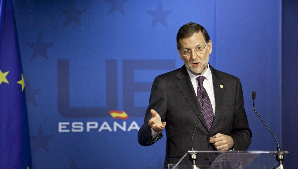 Mariano Rajoy, durante la rueda de prensa que ha ofrecido tras la reunión del Consejo Europeo