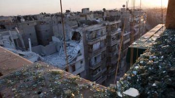 Vista de Alepo tras un enfrentamiento entre los rebeldes y el ejército sirio