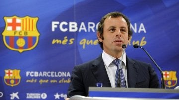 Sandro Rosell, en rueda de prensa como presiente del Barça