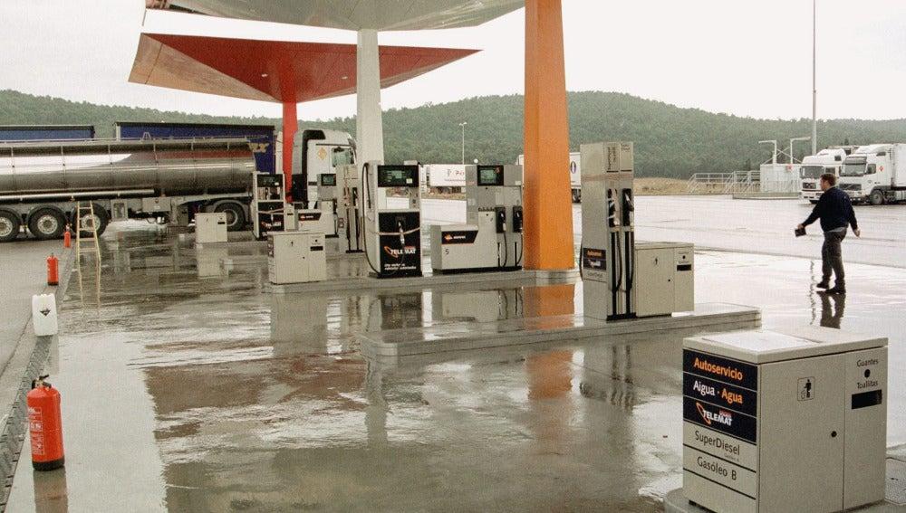 Una gasolinera de la zona fronteriza hispano-francesa