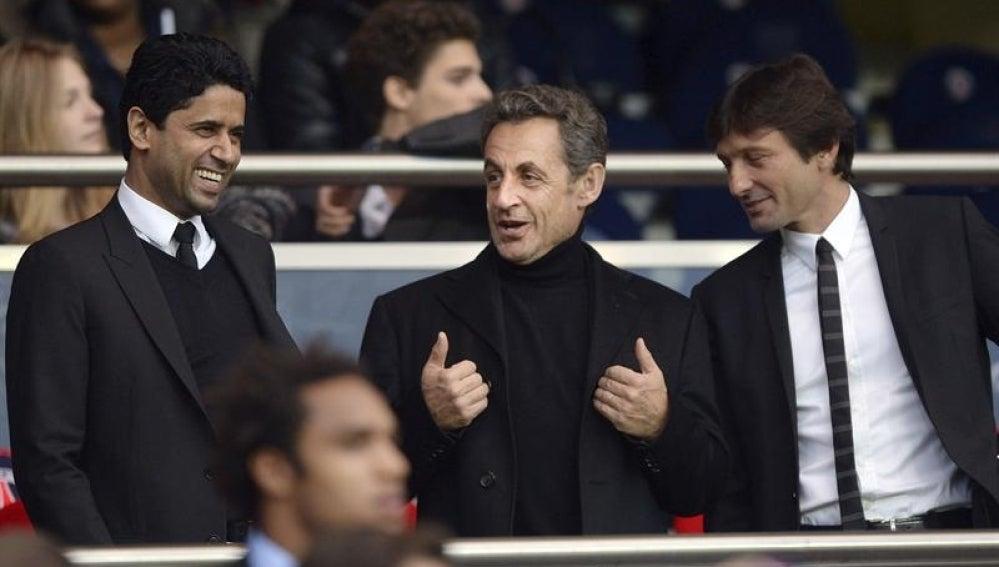Nasser al Khelaïfi, junto a Nicolas Sarkozy y Leonardo