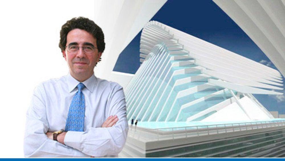 Santiago Calatrava junto a la imagen prototipo del Palacio de Congresos de Oviedo