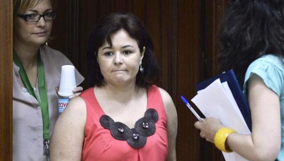 Ruth Ortiz, a su llegada a la sala de vistas