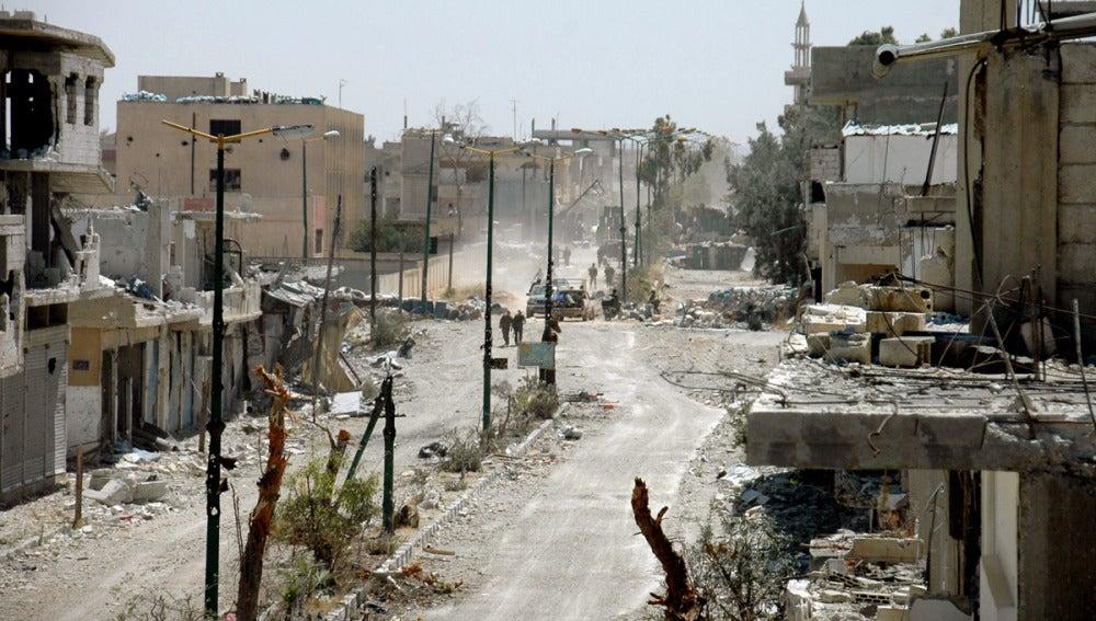 Daños en la localidad estratégica de Al Quseir, en Siria.