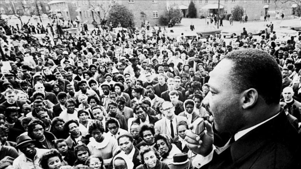 Martin Luther King durante un discurso