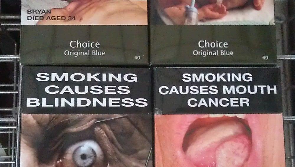 Cajetillas de tabaco con imágenes de enfermedades