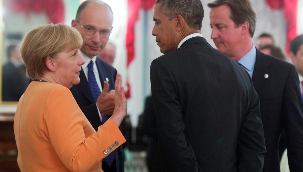 Merkel, Obama, David Cameron y a su homólogo italiano, Enrico Letta, en la cumbre del G20.