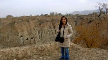 La investigadora María Martinón-Torres, en el yacimiento chino de Donggutuo