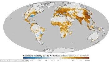 Mapa de la contaminación en el mundi
